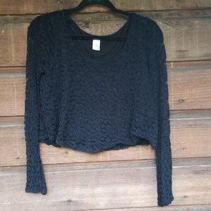2/$14 Paper Crane Women's Black Lacy Crop Top
